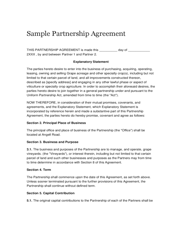 partnership agreement Use our partnership agreement to outline the responsibilities of each partner in your new venture.