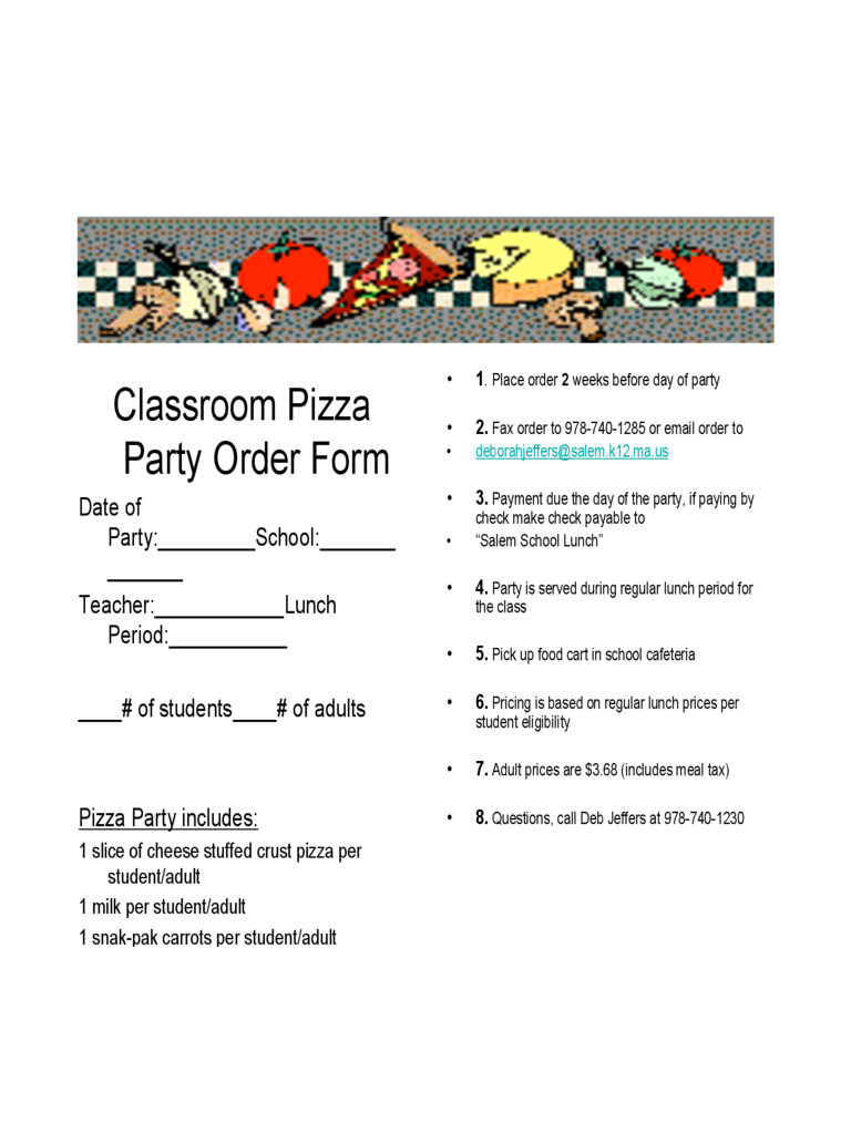 Blank Pizza Party Flyer