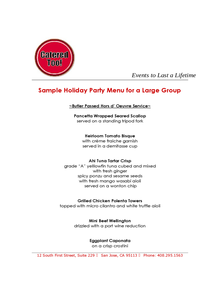 Party Menu Template 3 Free Templates in PDF Word Excel Download – Sample Party Menu Template
