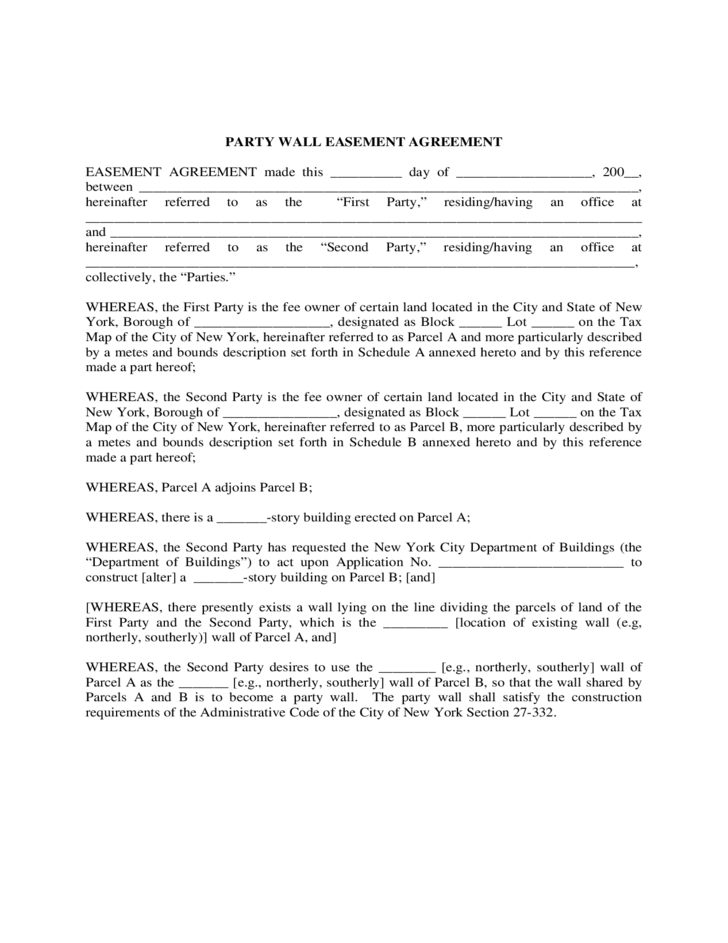Party Wall Easement Agreement Free Download