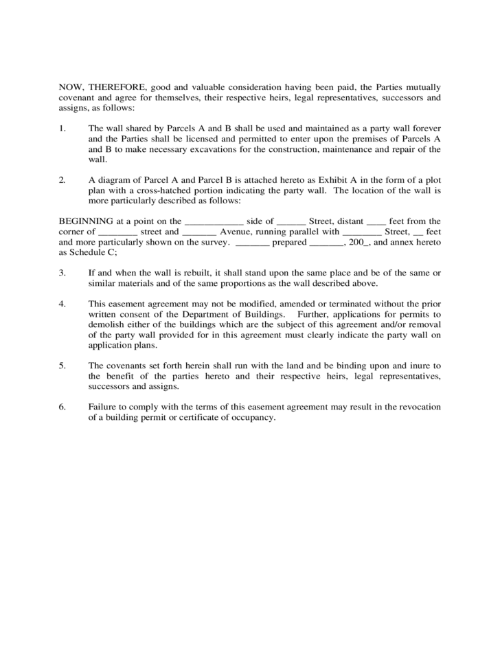 Party wall easement agreement free download for Party wall letter template