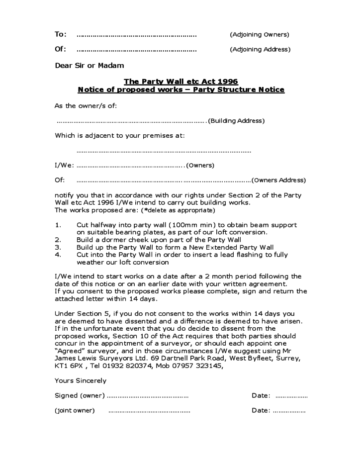 Party wall agreement form sample free download for Third party wall notice