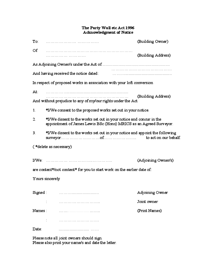 Party wall agreement form sample free download for Party wall letter template