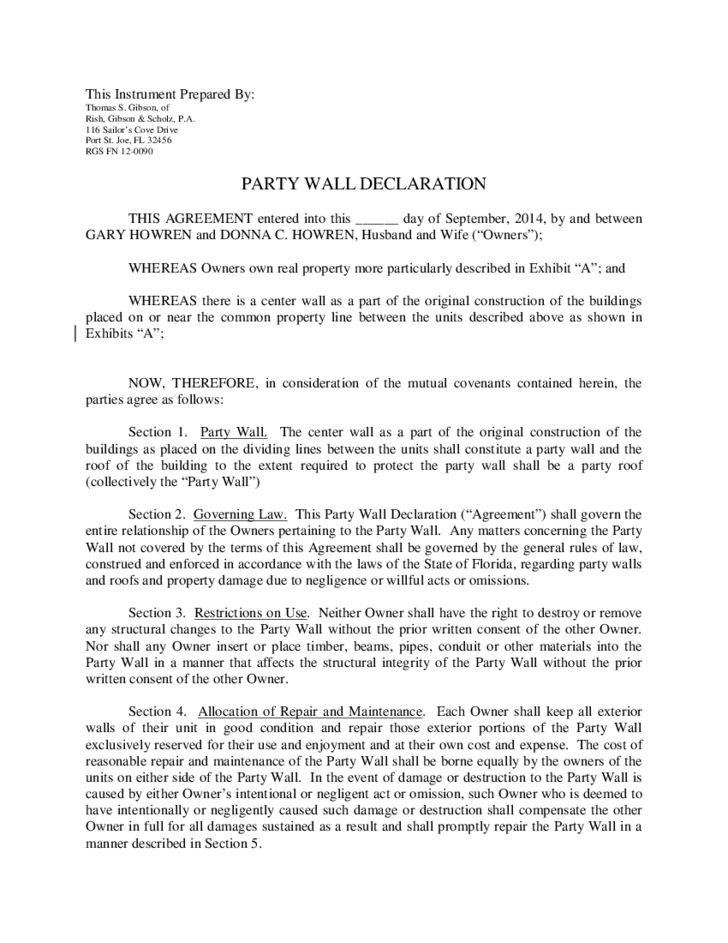 Party Wall Declaration Free Download