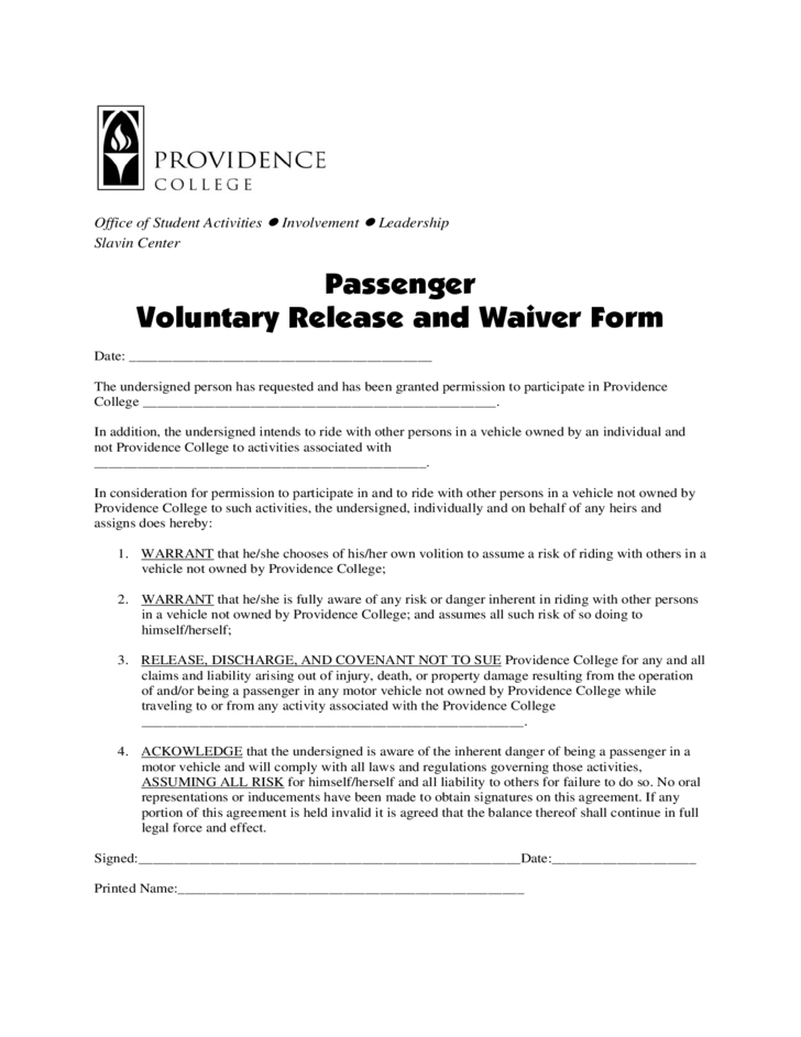 Passenger Waiver Form Rode Island Free Download