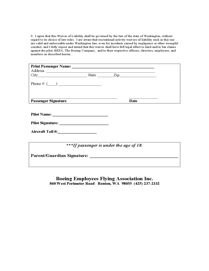 Passenger Waiver of Liability Form Free Download – Waiver of Liability Form Free
