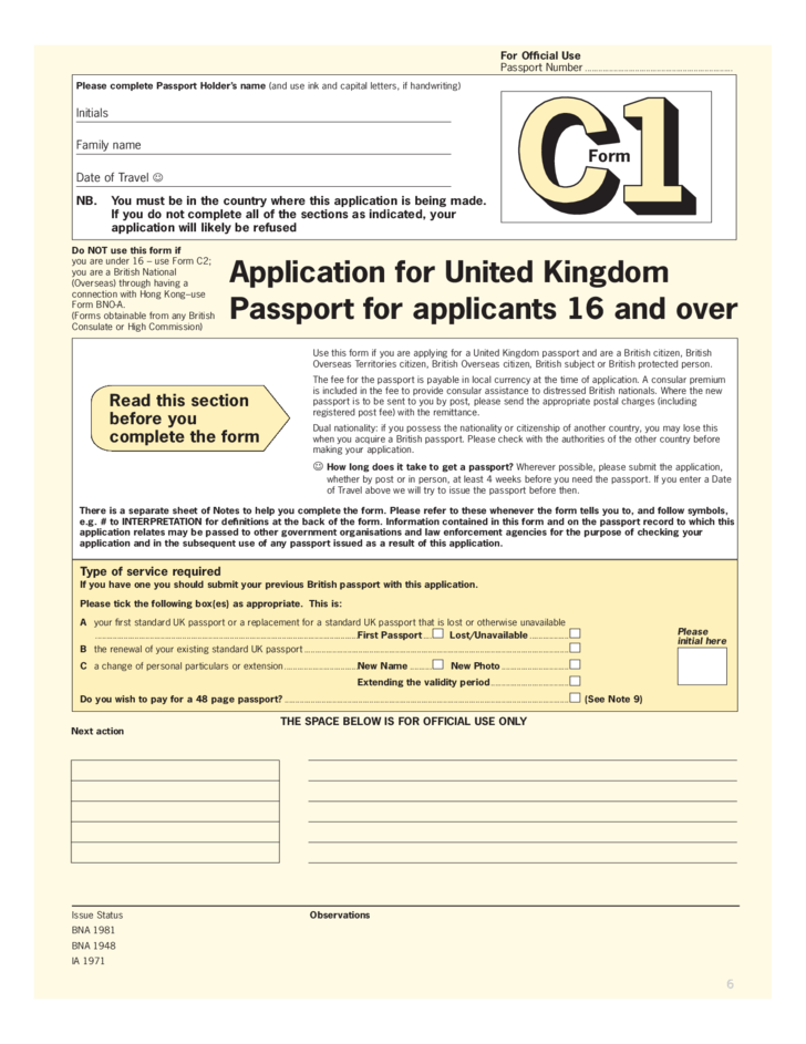 Application Form For British Citizen, Application For United Kingdom Passport For Applicants 16 And Over Free Download, Application Form For British Citizen