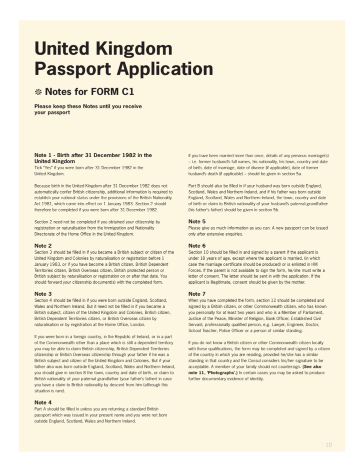 Application For United Kingdom Passport For Applicants 16 And Over