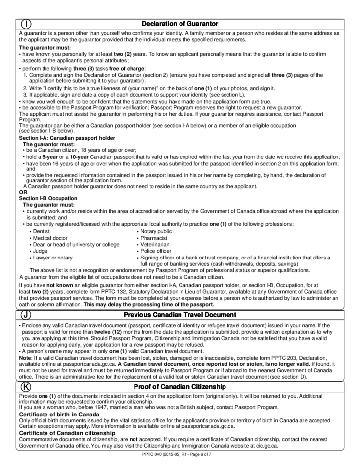 Adult Abroad General Passport Application - Canada