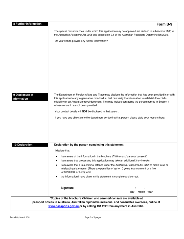 Application for An Australian Travel Document for A Child