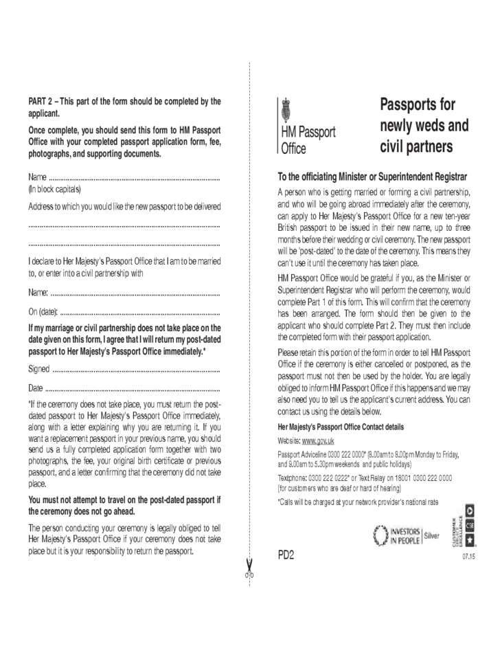 Passports Application Form For Newlyweds And Civil Partners Uk