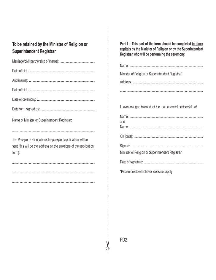 Passports Application Form for Newlyweds and Civil Partners - UK