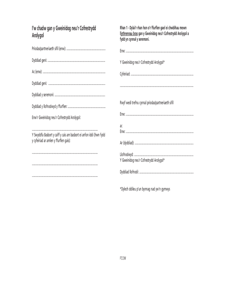 Passports Application Form for Newlyweds and Civil Partners - Welsh