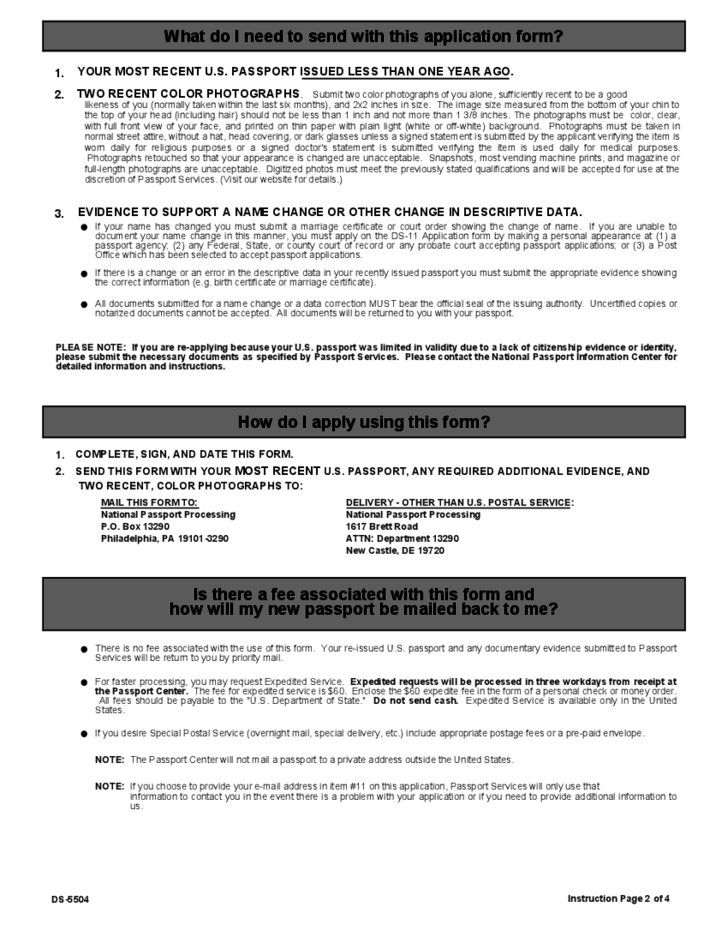Us Passport Re Application Form Free Download