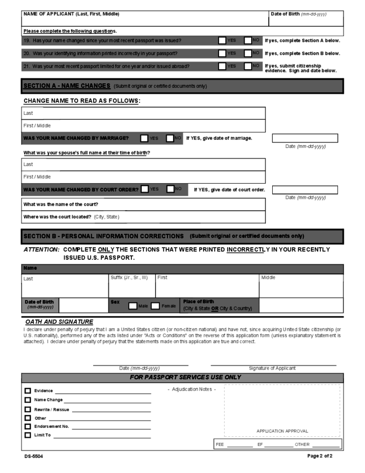 U.S. Passport Re-Application Form