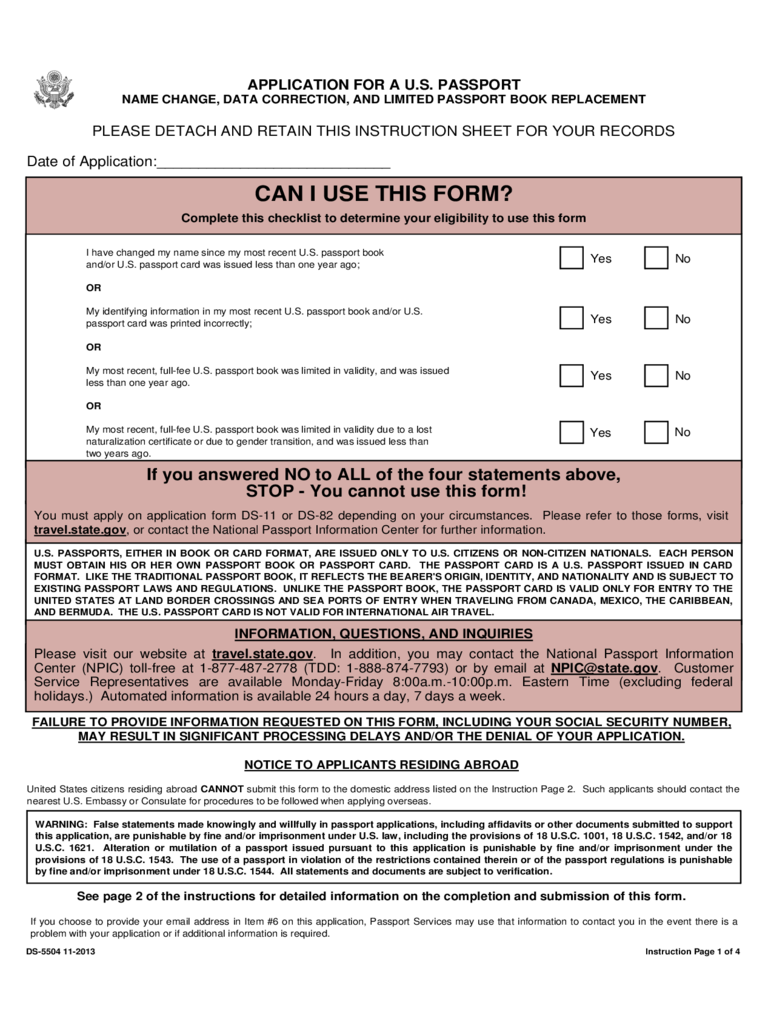 Passport Name Change Form - 2 Free Templates in PDF, Word, Excel ...