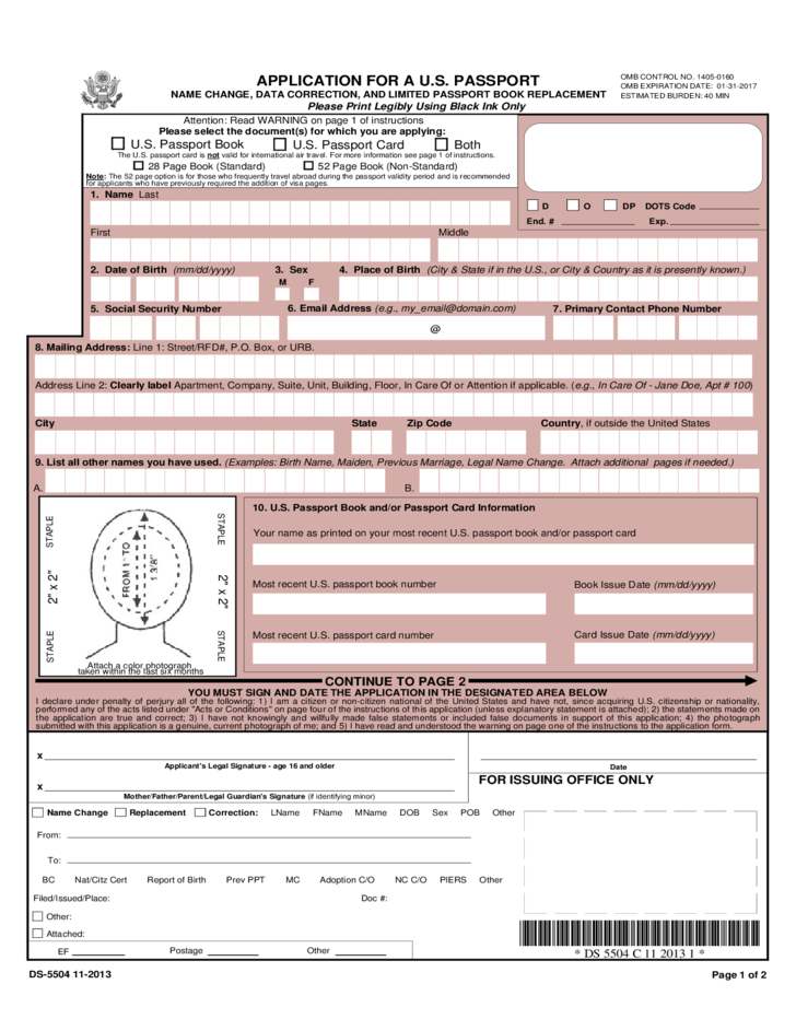 Application for A U.S. Passport Name Change, Data Correction, And ...