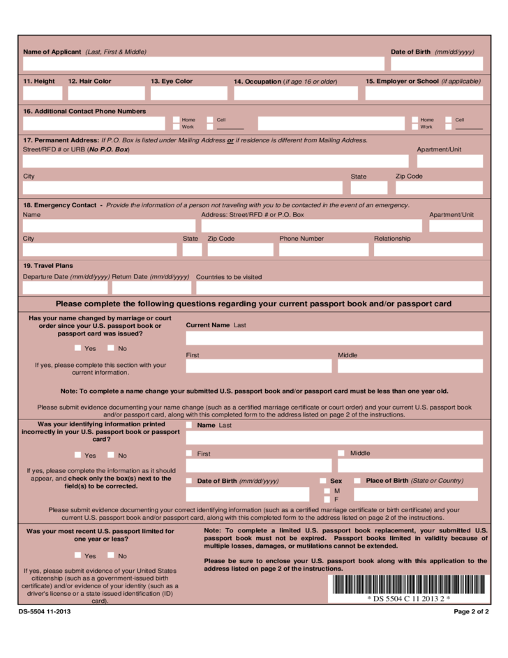 Application For A Us Passport Name Change Data Correction And