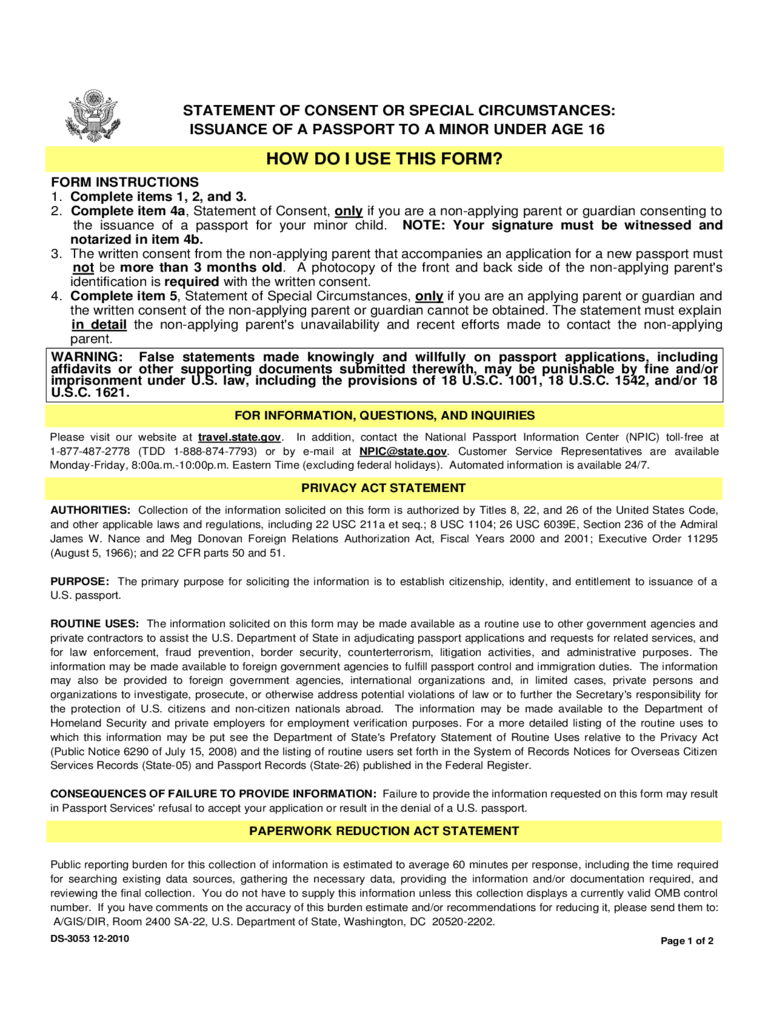 Statement Of Consent Or Special Circumstances  Parental Consent Form For Passport