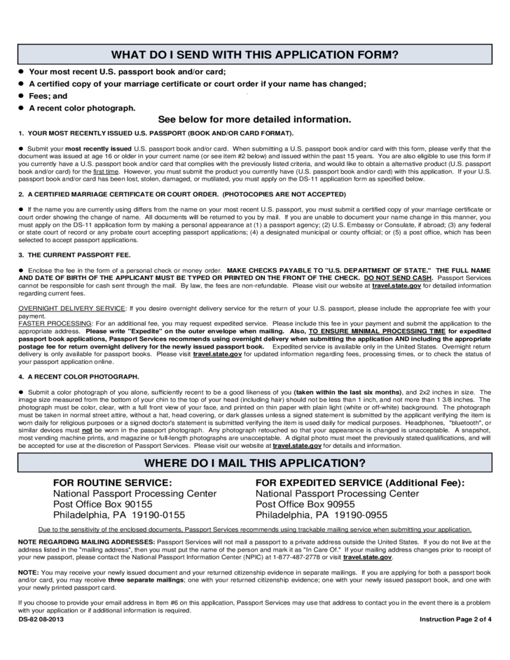 Us Passport Renewal Application For Eligible Individuals Free Download