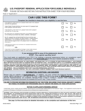 U.S. Passport Renewal Application for Eligible Individuals Free Download