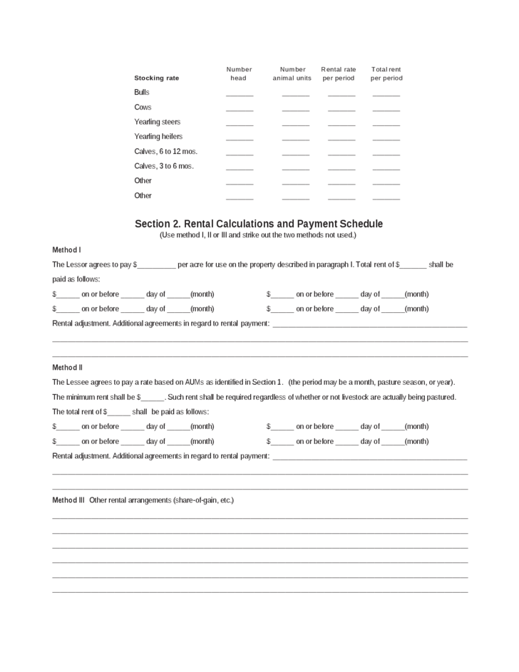 Simple Pasture Lease Agreement Free Download – Sample Pasture Lease Agreement Template