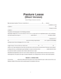 Simple Pasture Lease Agreement Free Download