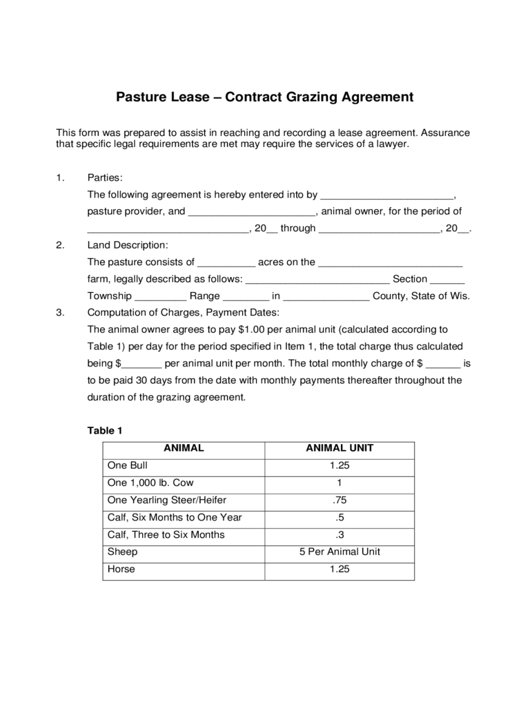 Pasture Lease   Contract Grazing Agreement  Lease Agreement Printable