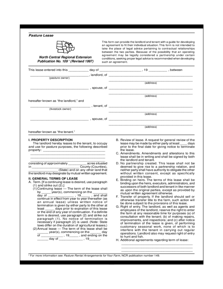 Pasture Lease Agreement Templates Download for Free