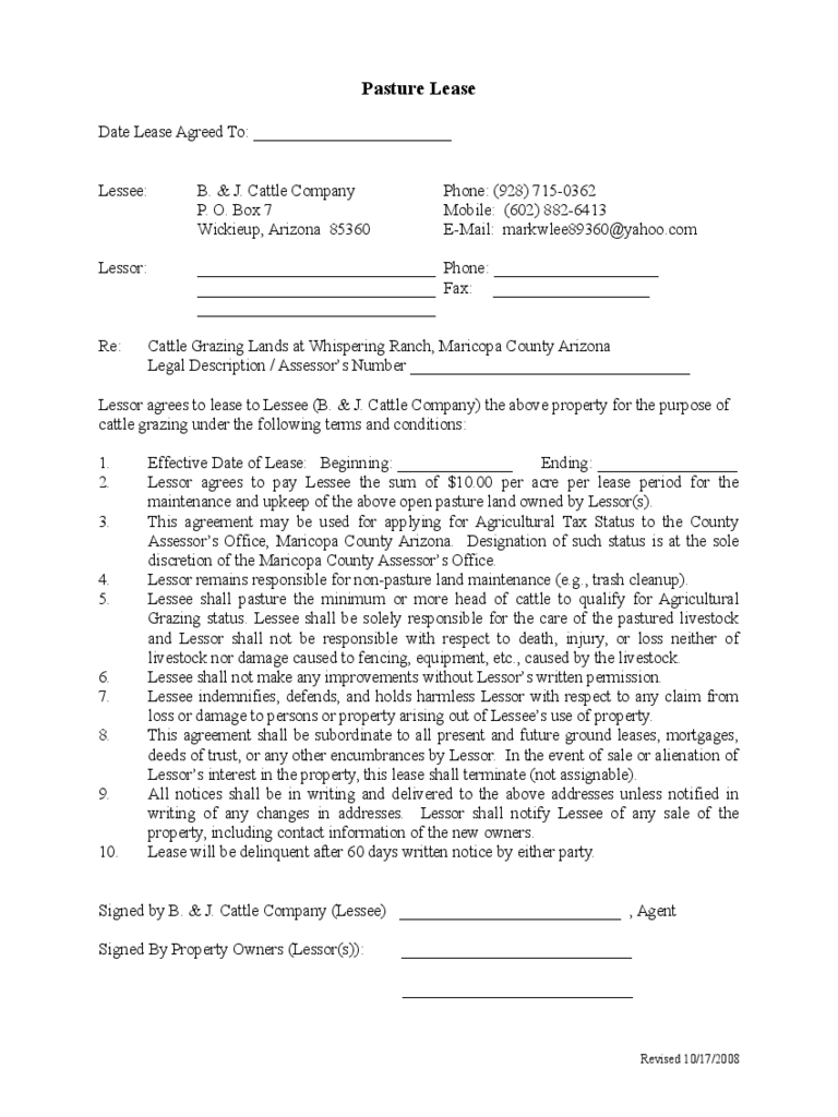 Sample Pasture Lease Agreement Template