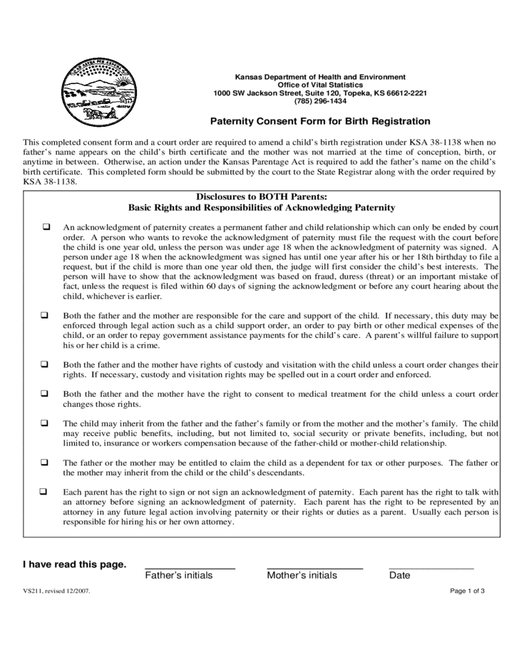Kansas paternity consent form for birth registration free download 1 kansas paternity consent form for birth registration yelopaper Gallery