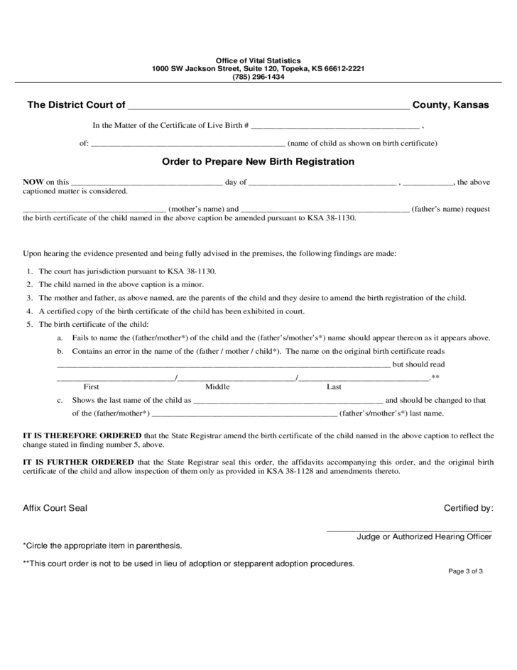 Kansas Paternity Consent Form for Birth Registration Free Download – Consent Order Form