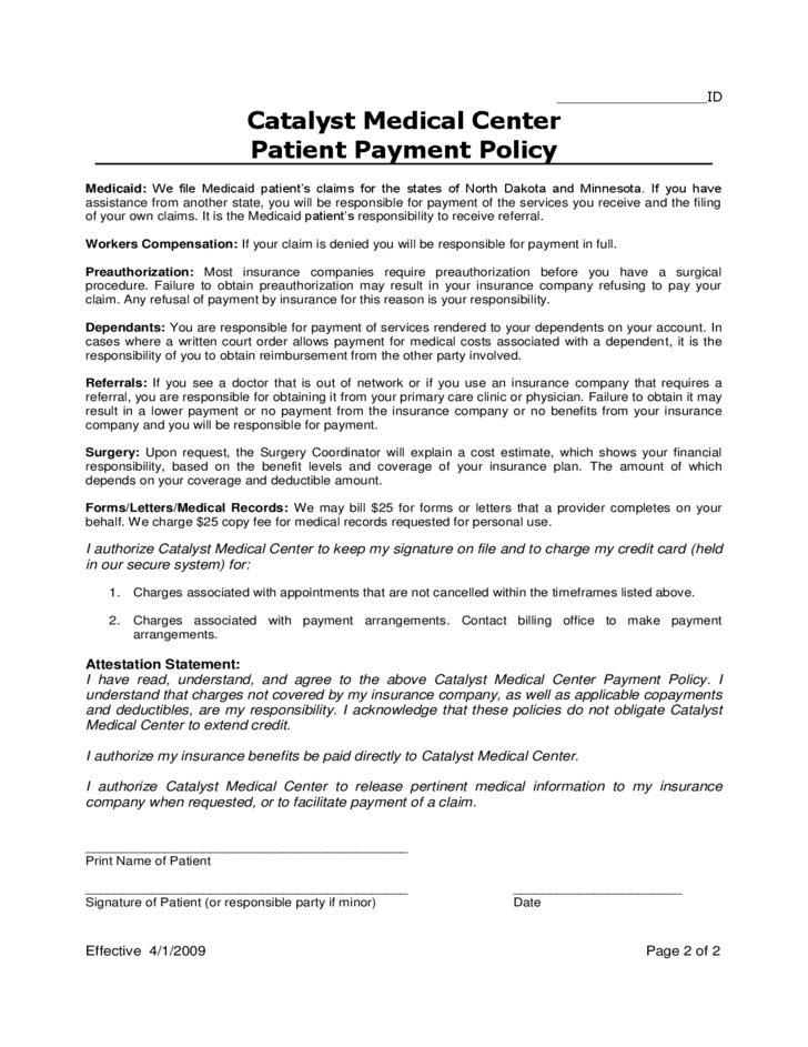 Sample Patient Payment Policy Free Download