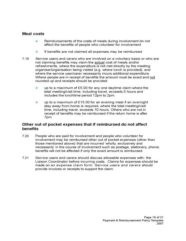 Payment and Reimbursement Policy Template Free Download