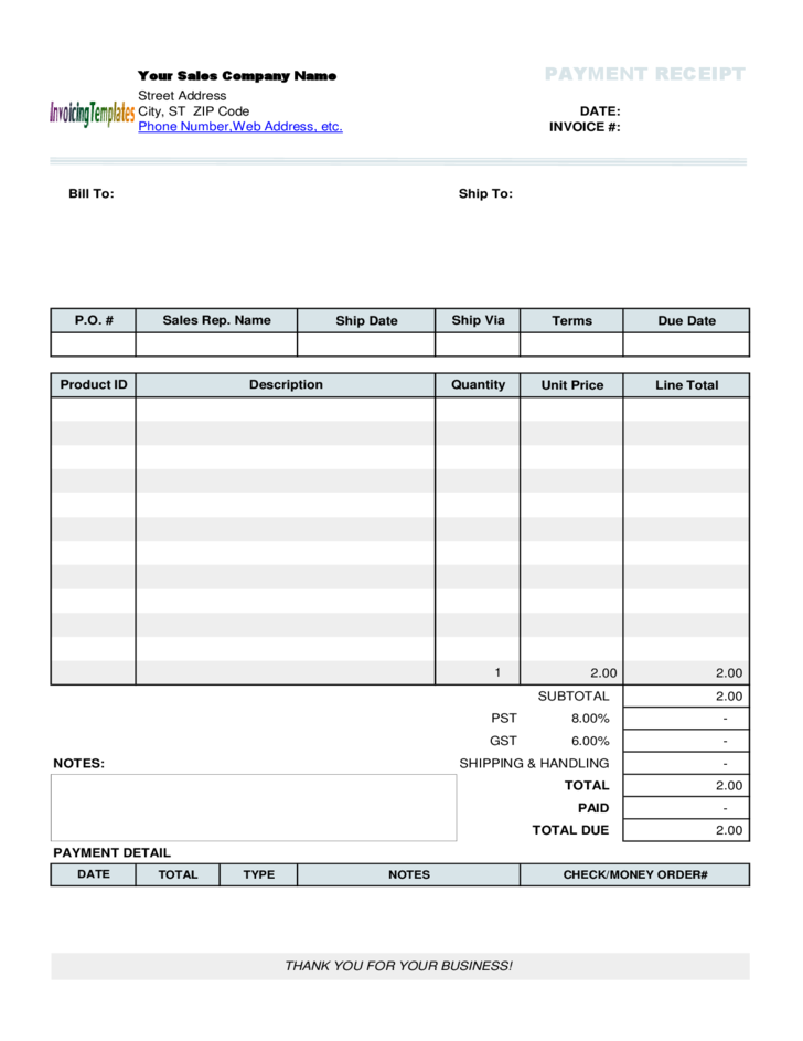 payment receipt template free download