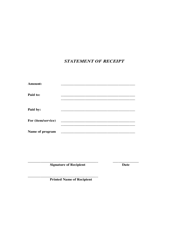statement of receipt free download