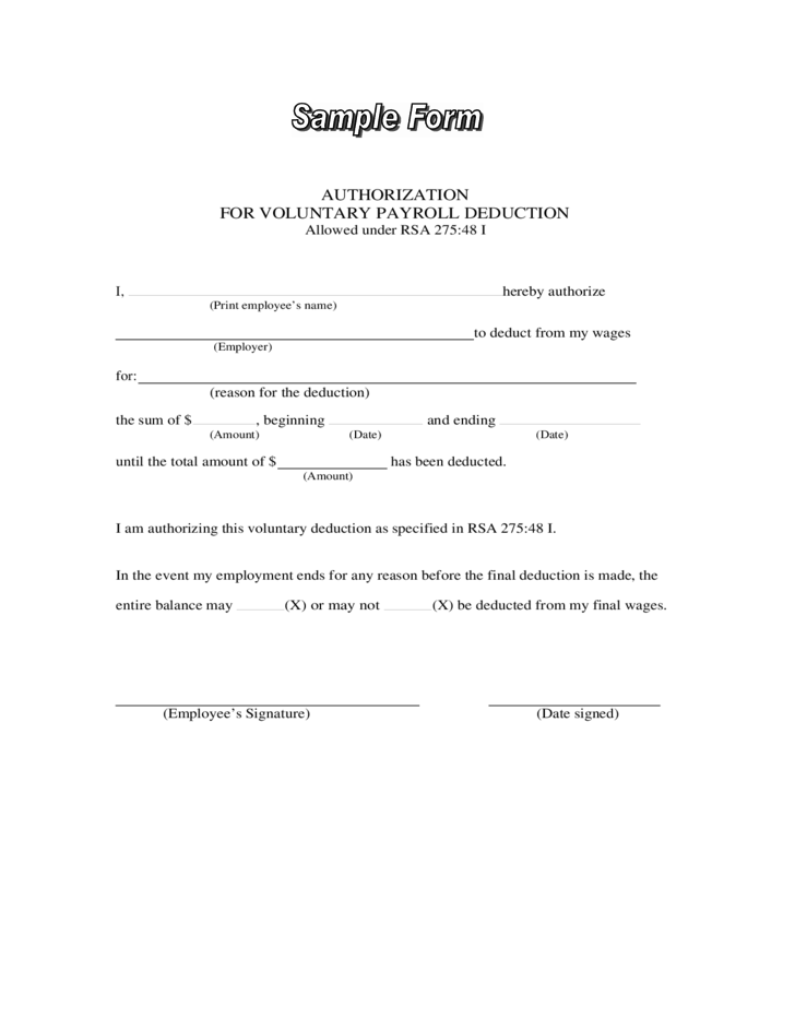payroll deduction sample form free download