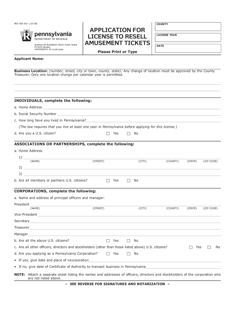 REV-656 - Application License to Resell Amusement Tickets