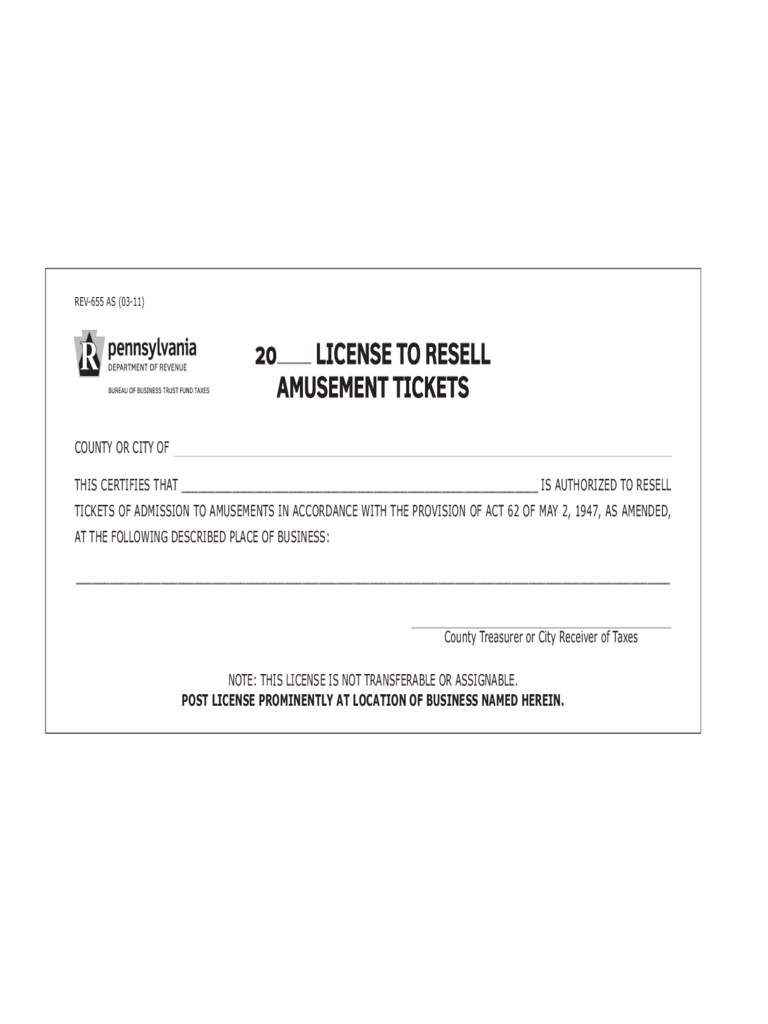 REV-655 - License to Resell Amusement Tickets
