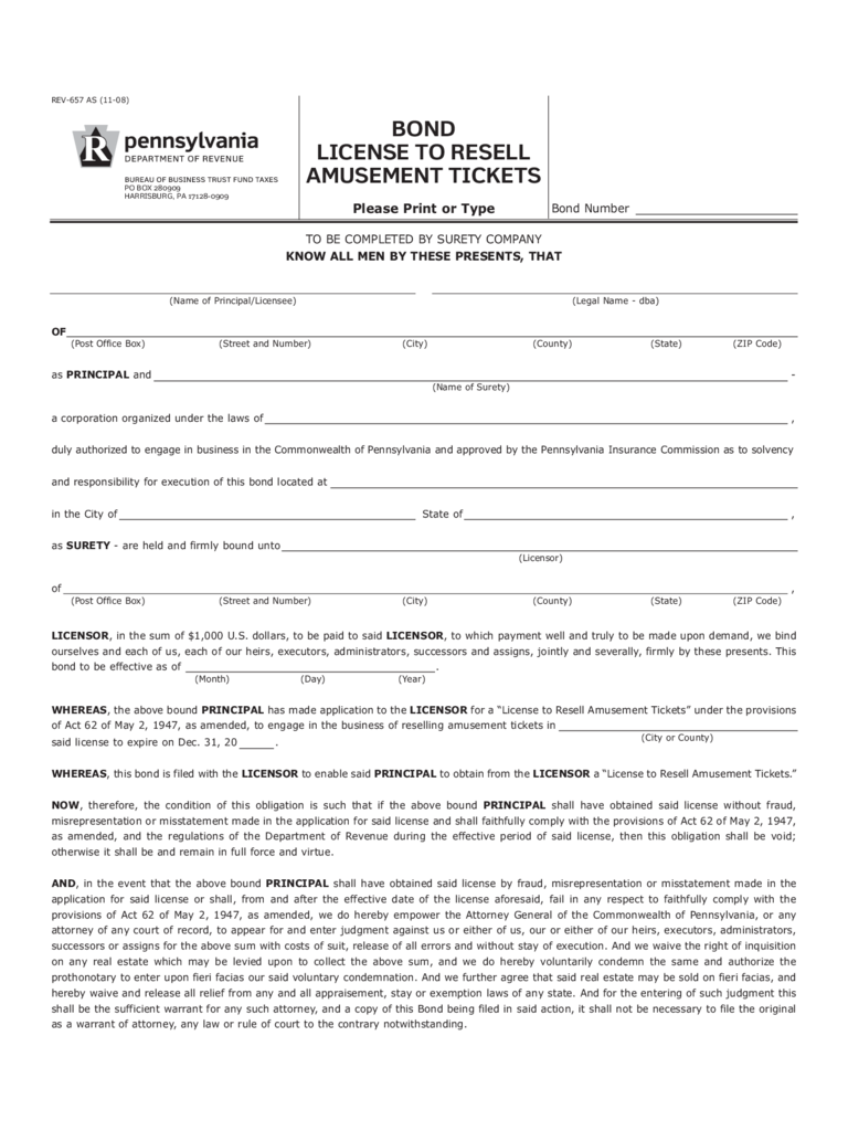REV-657 - Bond License to Resell Amusement Tickets