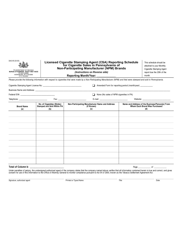 DAS-95 - Licensed Cigarette Stamping Agent Reporting Schedule