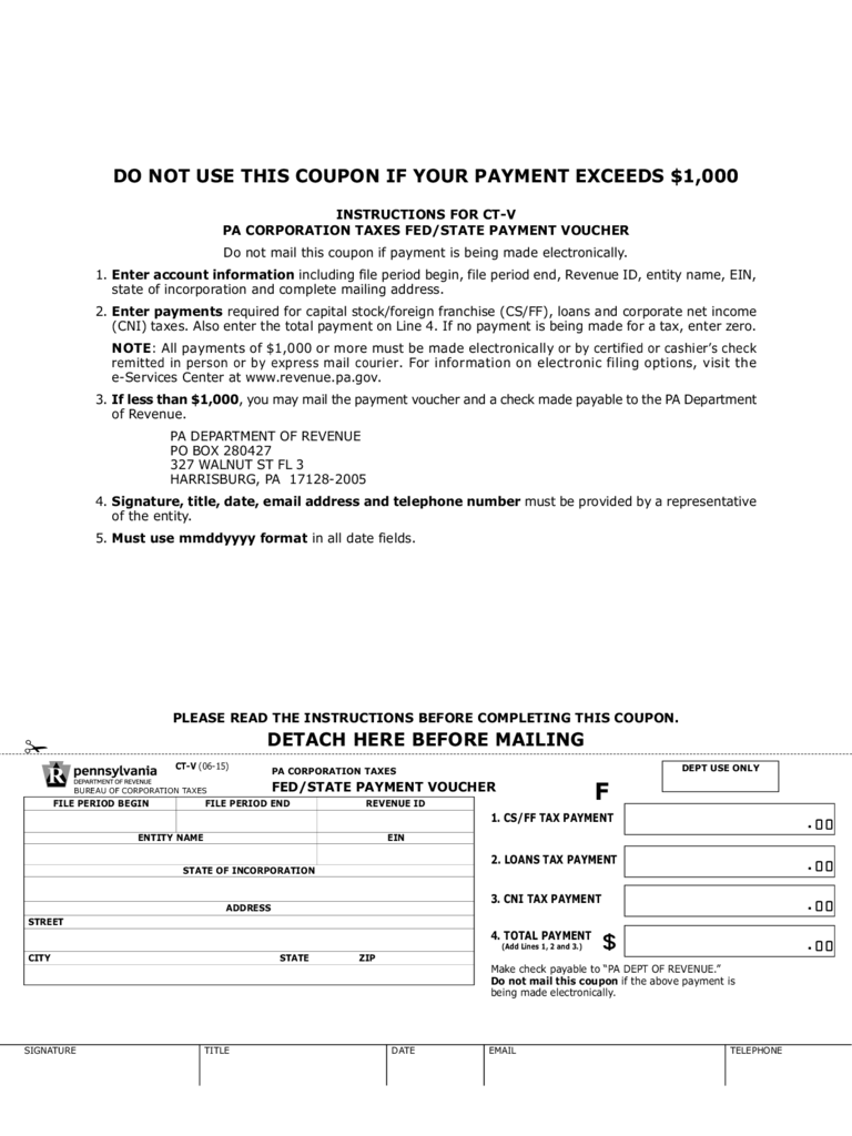 CT-V - PA Corporation Taxes Fed/State Payment Voucher