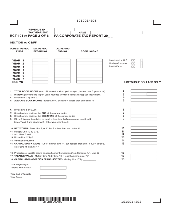 Rct 101 Fillin Pa Corporate Tax Report Free Download