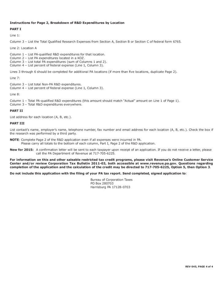 Rev 545 2015 Research And Development Tax Credit Application Free