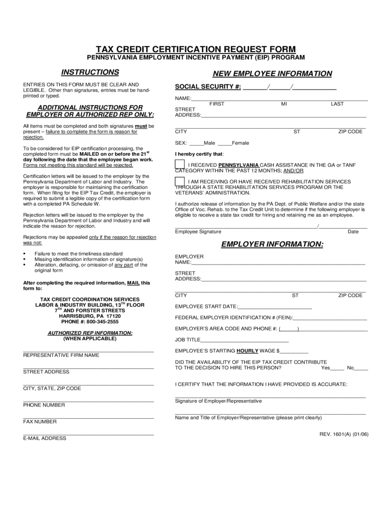 REV-1601 - Tax Credit Certification Request Form