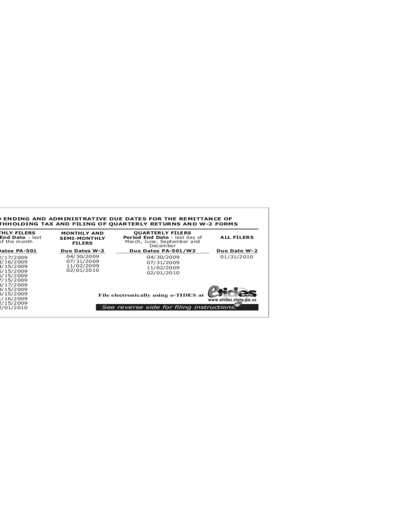 REV-1716 - 2009 Period Ending and Administrative Due Dates Forms