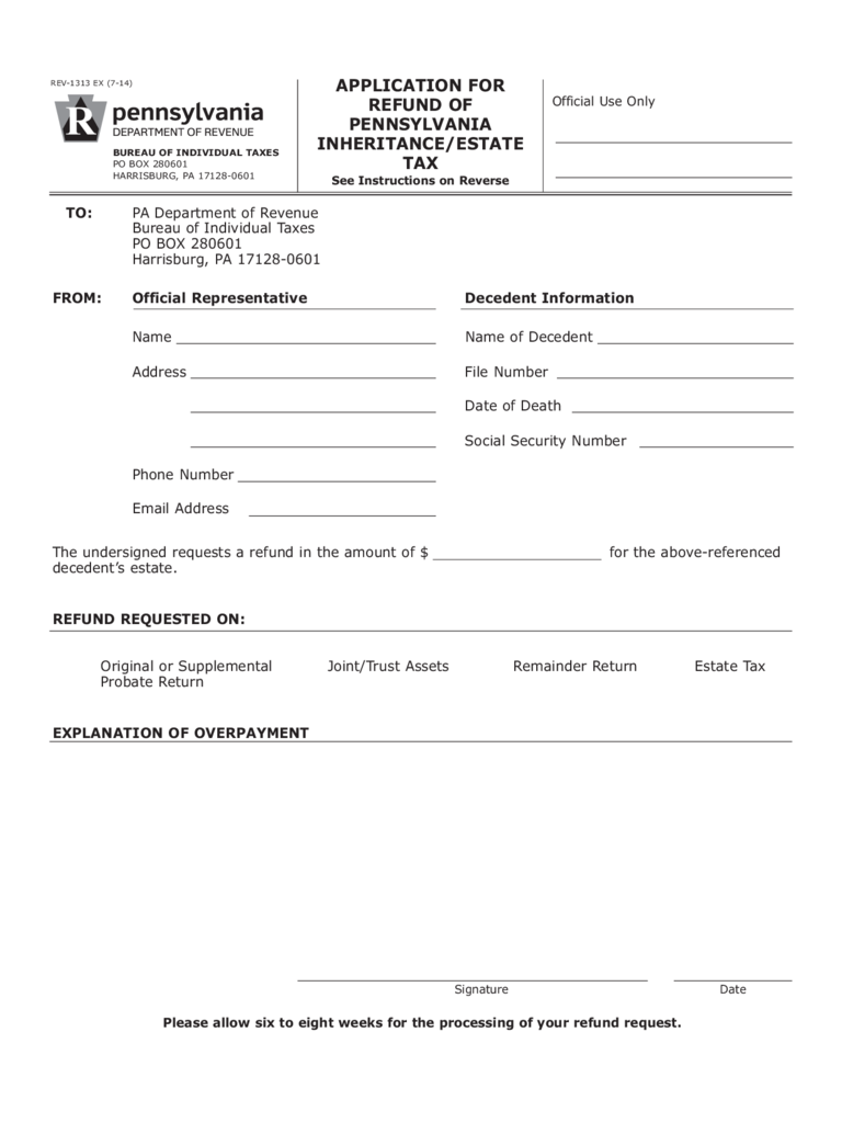 REV-1313 - Application for Refund of Pennsylvania Inheritance/Estate Tax Free Download