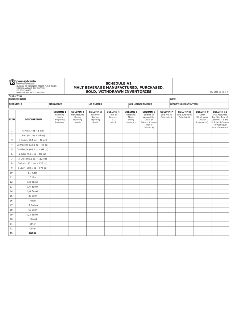 REV-1052 A1 - Malt Beverage Manufactured, Purchased, Sold, Withdrawn Inventories Form