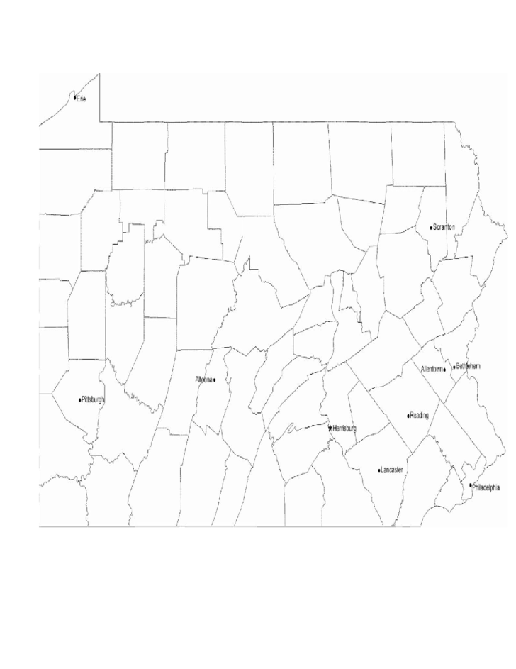 Map of Pennsylvania Cities with City Names