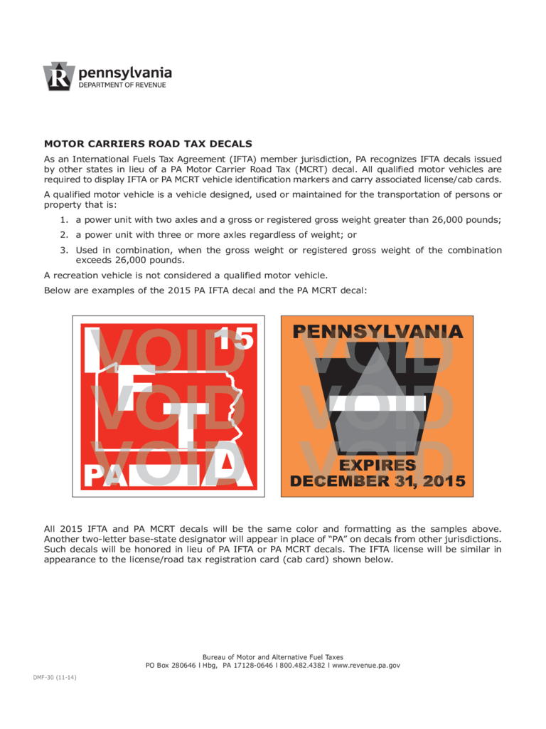 DMF-30 - Motor Carriers Road Tax Decals
